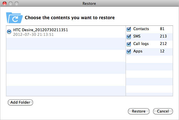 Mac Android MobileGo Restore