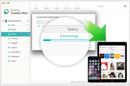 Конвертирование и передача песен и видео с Mac для воспроизведения на iPhone, iPod touch, iPad.