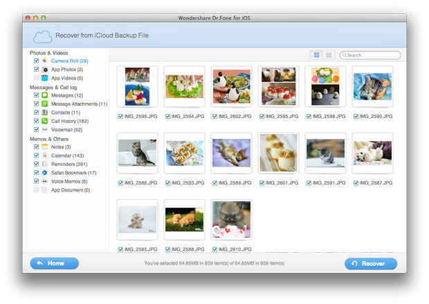 select icloud download